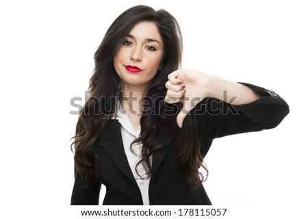 Young fashion business woman say no on white background - stock photo