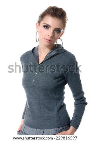 young fashion model posing in a studio shot - stock photo
