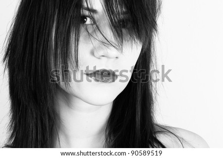Young fashion model with a clean face - stock photo