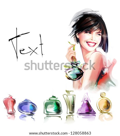 Young fashion woman with bottle of perfume - stock photo