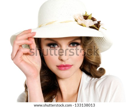 young fashionable in modern stylish hat �close up - stock photo