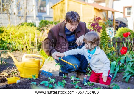 Young father and his little adorable son planting seeds and seedlings in vegetable garden, outdoors. Happy family of two: Man and son having fun with gardening in spring. - stock photo