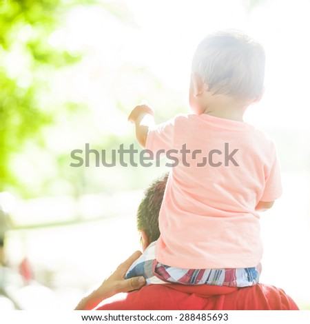 Young father and little child - stock photo