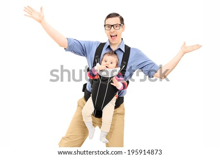 Young father dancing and carrying his baby daughter isolated on white background - stock photo
