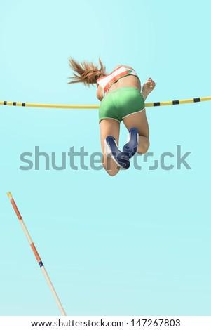 Young female athletes  pole vault failed - stock photo