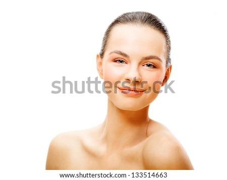 Young female beauty portrait over isolated white background - stock photo