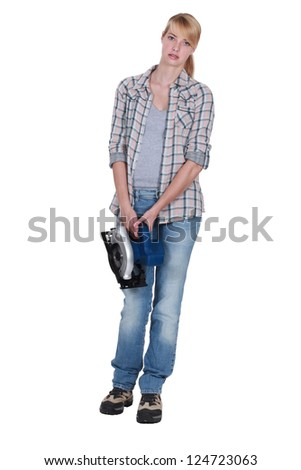 young female carpenter - stock photo