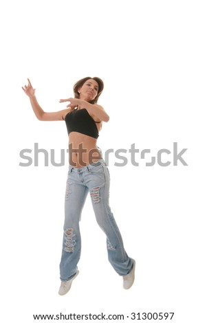 Young female dancing jazz modern dance isolated - stock photo