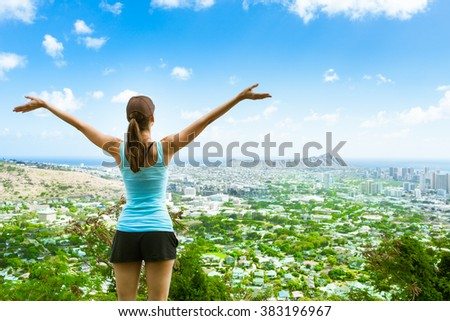 Young female enjoying the beautiful view. (location Hawaii Honolulu) - stock photo