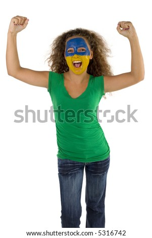 Young female fan with hands up and painted  Slovakian flag on face. She's on white background. Front view. She's looking at camera. - stock photo