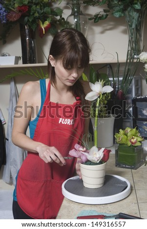 Young female florist working at counter in shop - stock photo