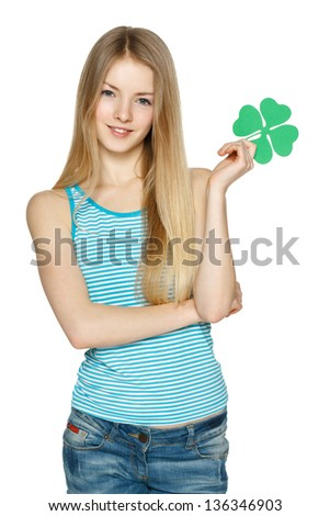 Young female holding leaf symbol, over white background - stock photo