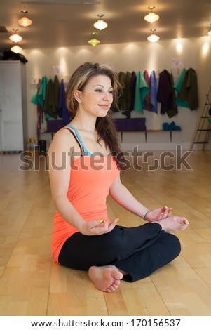young female in yoga studio  - stock photo