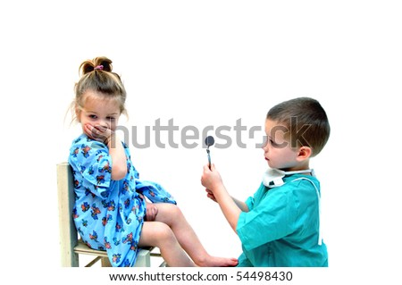 Young female patient refuses to cooperate with this young doctor and has her mouth covered during appointment. - stock photo