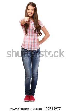 young female posing in studio - stock photo