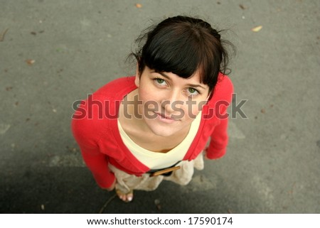 Young female - raising hands for help / hug - stock photo