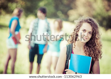 Young Female Student at Park,Italy - stock photo