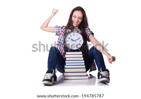 Young female student missing her deadlines on white - stock photo