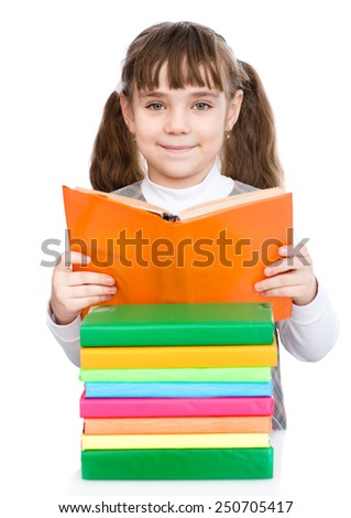 young female student reading books. isolated on white background - stock photo