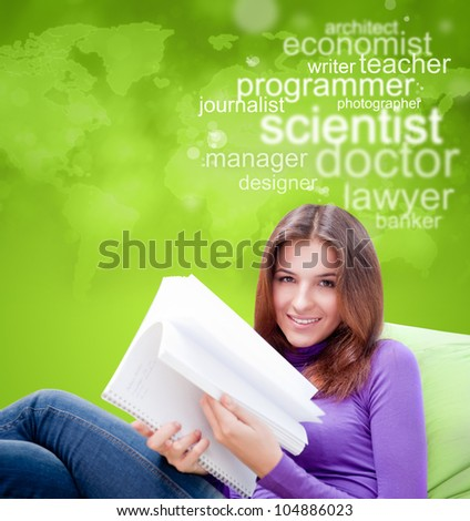 Young female student studying and thinking about future profession - stock photo
