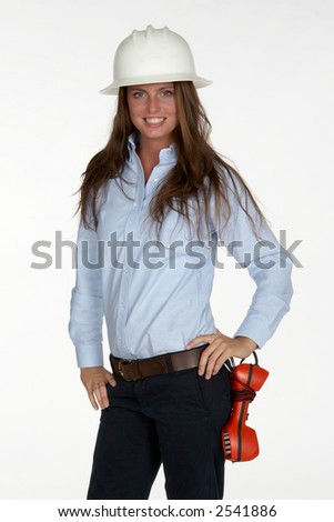 Young Female Telephone Technician in White Hardhat - stock photo