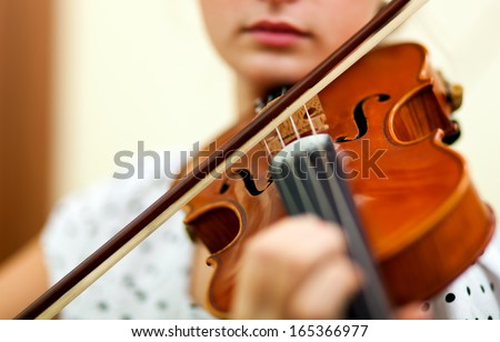 Young female violinist portrait  - stock photo