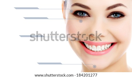 Young female with clean fresh skin, white background  - stock photo