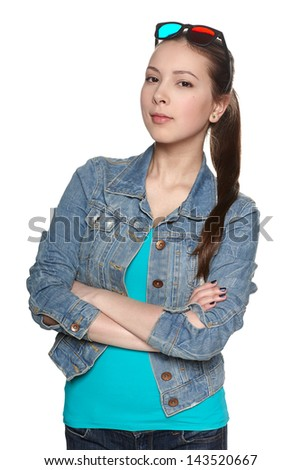 Young female with 3d glasses - stock photo