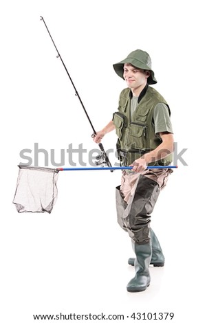 Young fisherman holding a fishing net isolated on white background - stock photo