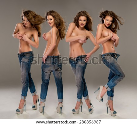 Young, fit and sexy woman only in jeans. Topless  - stock photo