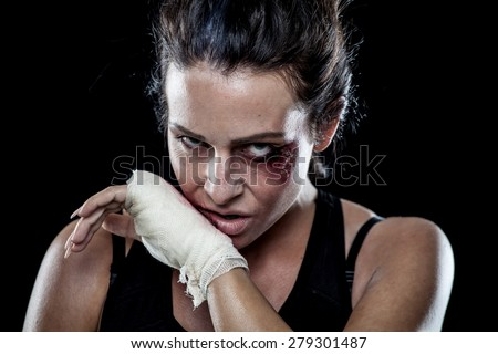 Young Fit Female MMA Fighter - stock photo