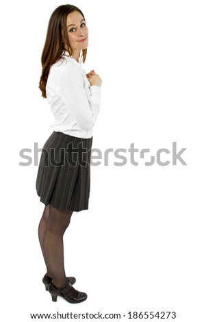 young flattered businesswoman or student with gesture - stock photo