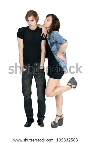 Young flirting  woman is seducing man on white background - stock photo