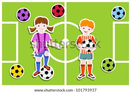 young football players with ball,  football (soccer) theme - stock photo