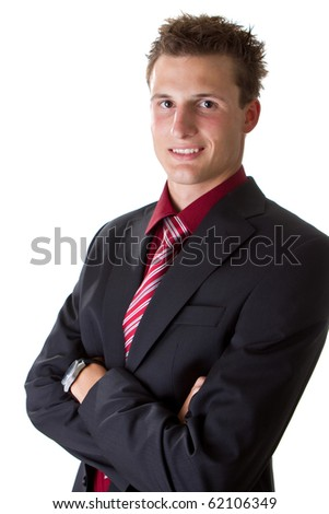 Young fresh trendy businessman isolated over white background. Handsome cool male model. - stock photo