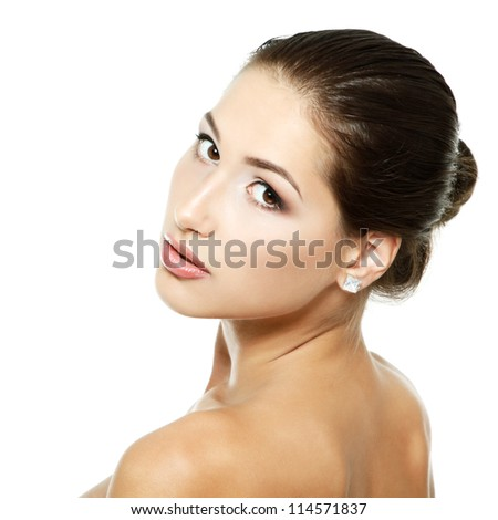 Young fresh woman beauty portrait, face and shoulders closeup. Isolated on white background - stock photo