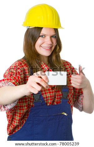 Young friendly craftswoman with business card  isolated on white background - stock photo