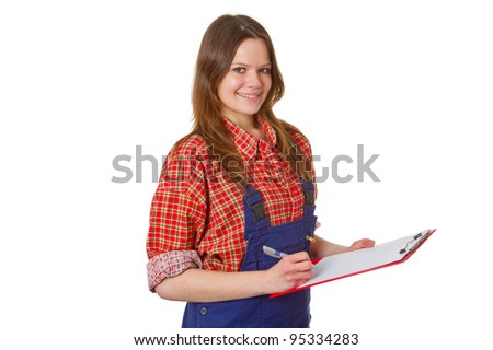 Young friendly craftswoman with clipboard isolated on white background - stock photo