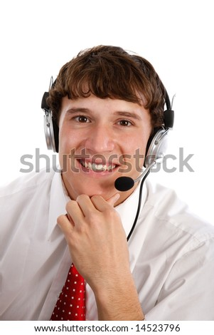 Young Friendly Male Technical Support Person on Isolated Background - stock photo