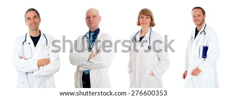young friendly medical team in lab coat - stock photo