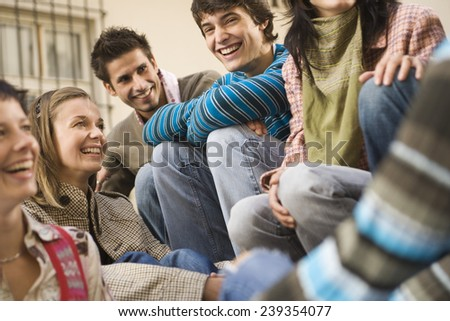 Young Friends Socializing - stock photo