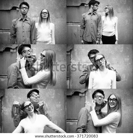 Young funny couple - stock photo