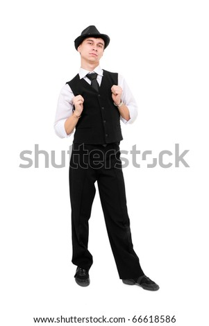 Young gentleman standing against isolated white background - stock photo