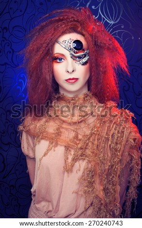 Young  ginger woman with artistic visage - stock photo