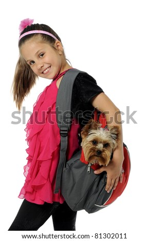 Young girl and cute puppy - stock photo