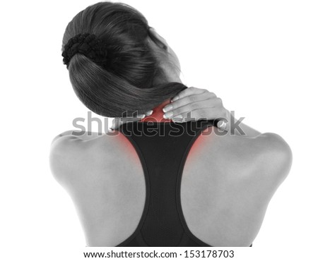 Young girl and pain in neck isolated on white - stock photo