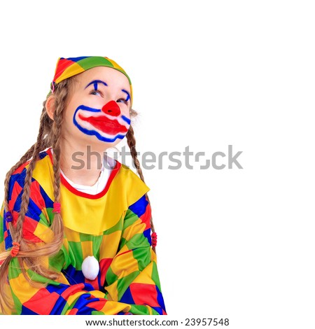Young girl as jester on white background - stock photo