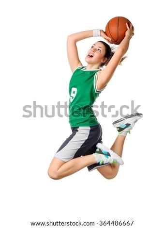 Young girl basketball player isolated - stock photo