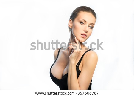Young girl breast implants inserted 3 a size - stock photo
