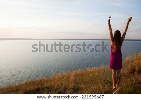 young girl celebrating life - stock photo